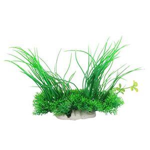 sourcingmap Plante en Plastique  Longues Feuilles pour décoration d'aquarium Vert 20cm - Publicité