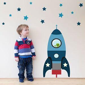 Stickerscape tre mis  feu fusée sticker mur par  Autocollants Bleu (Ensemble d'autocollant grand) - Publicité