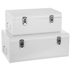 Atmosphera Set de 2 Coffres Malles de Rangement en métal Esprit Cantine Coloris Blanc - Publicité