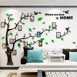 guangmu Sticker Muraux Acrylique 3D Arbre Autocollants, Amovibles DIY Cadre de Photo Stickers Mural Arts Décorations pour Garderie, Chambre, Salon, Chambre Enfants (L: 175 * 230CM, Vert Droite) - Publicité
