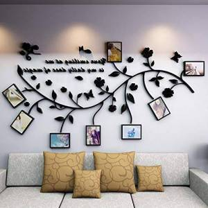 N/B Creative Combinaison De Cadre Photo 3D Stéréo Stickers Muraux Salon Chambre Canapé Fond Décoration Murale Murale Photo Arbre Photo Mur M: Largeur 2.0 * Hauteur 1.06M Noir Droit - Publicité