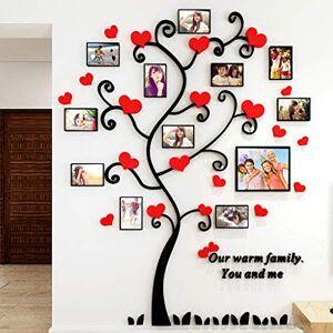 Vivilineneu Stickers Autocollants Muraux Amovibles 3D en Acrylique Arbre d'Amour Rouge avec 12 Cadres Photo - Publicité