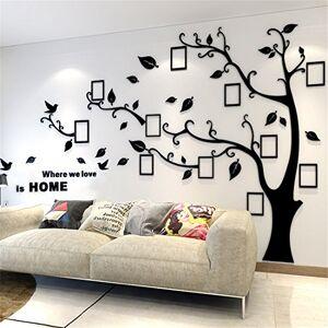 guangmu Arbre Sticker Muraux 3D Autocollants DIY Cadre de Photo Stickers Mural Arts Décorations pour Garderie, Chambre, Salon, Chambre (Noir Gauche,XL: 200 * 276CM) - Publicité