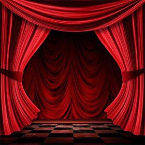 Cassisy 2,5x2,5m Vinyle Toile de Fond Photo Rideaux de scne Rouges Toile de Fond de Rideau de scne Décor de décor de scne Fond De Studio Photo Enfant Adulte Portrait Photographie Props Photobooth - Publicité