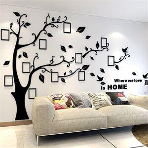 guangmu Arbre Sticker Muraux 3D Autocollants DIY Cadre de Photo Stickers Mural Arts Décorations pour Garderie, Chambre, Salon, Chambre (Noir Droite,L: 175 * 230CM) - Publicité