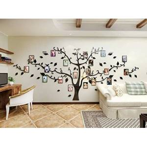Alicemall Sticker Mural Arbre Photo Stickers Salon Décoration de Maison Autocollant Mural (Pattern 2(Branches noires et feuilles noires)) - Publicité