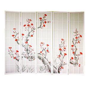 PEGANE Paravent Japonais Fleur de Cerisier en Bois Blanc de 5 pans, L220 x H175 x P2 cm - Publicité