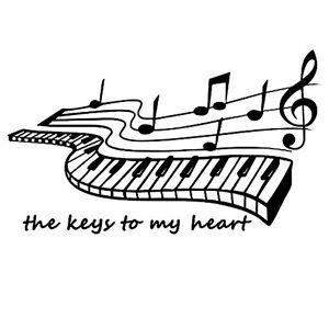 AUHOTA The Keys to My Heart Piano Musique Notes Onglet Mural Décor,  Amovible Sticker Mural en Vinyle Autocollant Décalque, DIY Peinture Murale pour Chambre Musique Danse Salle (1911pouces, Noir) - Publicité