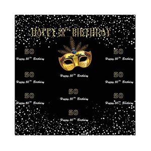 Cassisy 2,5x2,5m Vinyle Anniversaire Toile de Fond Photo Joyeux 50me Anniversaire Bannire Masque d'or Points Toile de Fond Noir Fond De Studio Photo Enfant Adulte Photographie Props Photobooth - Publicité