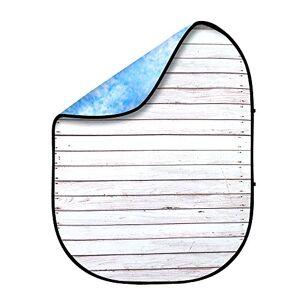 Fovitec Fond en Mousseline Pliable Photographie Recto-Verso de 1,5 m x 2 m [Bleu Ciel/Bois usé][étui de Transport Inclus] - Publicité