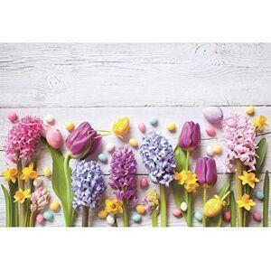 Cassisy 3x2m Vinyle Pques Toile de Fond Photo Planches de Bois Blanches ufs de Pques Tulipes Décor de Fleurs Fond De Studio Photo Enfant Adulte Photographie Props Photobooth - Publicité