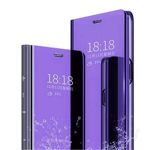 MLOTECH Coque pour Huawei P Smart Z,étui + Verre trempé Flip Clear View Translucide Miroir Cover Standing 360Housse Antichoc Smart Cover Bumper Bleu Violet - Publicité