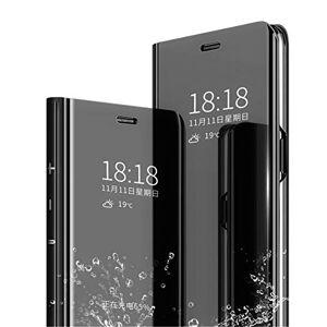 MLOTECH Coque pour Huawei P Smart(2018),Cover + Verre trempé Flip Clear View Translucide Miroir Cover Standing 360Housse étui Antichoc Smart Cover Bumper Noir - Publicité
