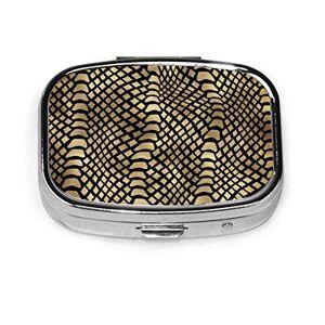 vilico Pilulier Boîte à médicaments en métal pour pilulier de voyage, pilule décorative pour contenir des vitamines/suppléments pour sac à main/poche, noir doré, peau d'animal sépia - Publicité
