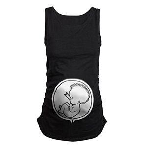 Q.KIM Womens Maternity T-Shirt sans Manches en Coton lâche Elasticité Souple Enceinte Vest avec Motif bébé Humour Imprimé Femmes Tops-Bébé, Noir L