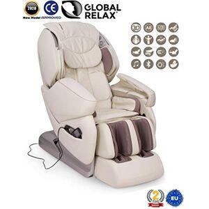 GLOBAL RELAX NIRVANA Fauteuil de massage 3D Blanc (mod. 2020) -Fauteuil relax Shiatsu avec 9 programmes massage -Gravité Zéro, Zero Wall, Magnétique, Ionisateur -Garantie Officielle 2 ANS - Publicité