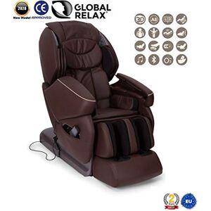 GLOBAL RELAX NIRVANA Fauteuil de massage 3D Marron (mod. 2020) -Fauteuil relax Shiatsu avec 9 programmes massage -Gravité Zéro, Zero Wall, Magnétique, Ionisateur Garantie Officielle 2 ANS - Publicité