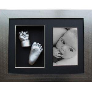 Anika-Baby Kit de moulage pour bébé Cadre effet étain 2 ouvertures Moulages mains et pieds argentés - Publicité