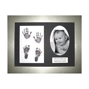 Anika-Baby BabyRice  Baby Handprint Footprint Kit Silver Display Frame (Black Prints) - Publicité