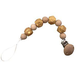 ProperLI Attache tétine perlée en bois de silicone pour bébé, porte-tétine, sucette de dentition,  Attache-chane pour tétine fixe avec cordon - Publicité