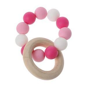 zhangaoyo zhangyo bébé bracelets d'allaitement en bois anneau de dentition en silicone  mcher perles hochets jouets anneau de dentition bracelets Montessori - Publicité