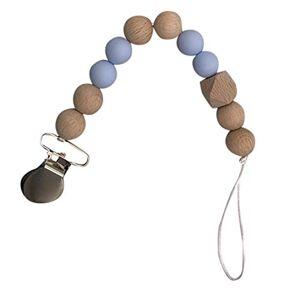 ProperLI Attache tétine perlée en bois de silicone pour bébé, porte-tétine, sucette de dentition,  Pince  mamelon fixée par une lanire anti-chane - Publicité