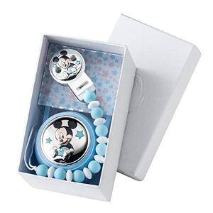 VALENTI & CO. Disney Baby Attache sucette, anneau de dentition avec box Mickey Mouse détails en argent perles colorées en silicone de qualité alimentaire cadeau de naissance - Publicité