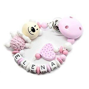 AVH Enterprise Attache tétine avec nom, attache sucette Personnalisée pour fille et garon  Plusieurs modles  Chane de tétine unique pour bébé (ours coeur rose) - Publicité
