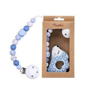 Mamimami Home Dentelle Dummy Clip Silicone Porte-sucette Dentition Jouet Bleu Hérisson Chewable Perles Baby Shower Gift - Publicité