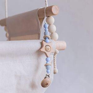 Mamimami Home 1pc Perles De Dentition en Silicone Bleues en Bois Pour Bébé Avec Attache-sucette Pentagramme en Bois Jouets Montessori - Publicité