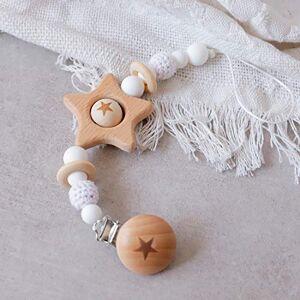 Mamimami Home 1pc Attache-sucette Pentagramme en Bois Pour Bébé Sans BPA Perles De Crochet Blanches Pour Enfants Accessoires De Jouets - Publicité