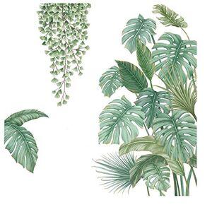 Henan 4 Pices Autocollant Mural Plante Verte, Sticker Mural Plante Tropicale, Convient pour Chambre  Coucher, Salon, Salle  Manger, Mur de Fond de Télévision, Couloir, Bureau, Magasin, Etc - Publicité