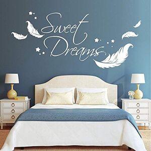 """CIRCLEXP Sticker Mural Le Sticker Mural Loft Est crit En Anglais Sous Le Nom""""Sweet Dreams"""" Avec Des Plumes Et Des toiles Sur Du Vinyle Blanc. Publicité"""