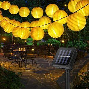 GolWof Guirlande Lumineuse Exterieure  6M 30 LED Guirlande Solaire Extérieure Lampion Solaire tanche Lanterne Solaire Decorative pour Jardin Patio Cour Mariage Fte Nol Blanc Chaud - Publicité