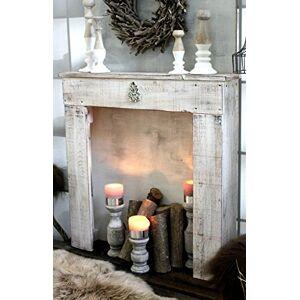 dekorie67 Console de cheminée Cheminée décorative Manteau de cheminée en bois blanc antique prt  l'emploi - Publicité