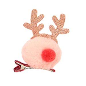 ZengBuks Décoration de Noël Antler épingle à cheveux en peluche pince à cheveux adorable bande dessinée tête boucle filles cadeau de Noël coiffure rose - Publicité