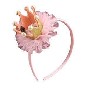 Demarkt 1 Pcs Enfant Bandeau bande de Cheveux en Tissu Mignon fleurs Couronne Perle Elastique Serre-ttes Extensible pour garon filles anniversaire Bijoux Fte Décoration Headband 5.5 * 9 * 5cm (Or) - Publicité