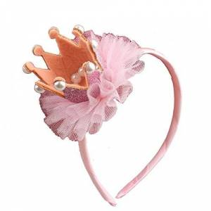Demarkt 1 Pcs Enfant Bandeau bande de Cheveux en Tissu Mignon fleurs Couronne Perle Elastique Serre-ttes Extensible pour garon filles anniversaire Bijoux Fte Décoration Headband 5.5*9*5cm (Rose) - Publicité