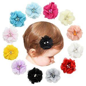 Upstore Lot de 12 barrettes  cheveux pour bébé fille 2 pinces  cheveux crocodile en mousseline de soie avec strass et perles barrettes  cheveux pour bébés filles nourrissons enfants (couleur aléatoire) - Publicité