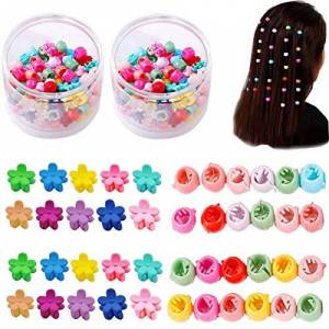 Liuer 150PCS Mini Pinces  Griffes de Cheveux Pinces  Cheveux en Plastique Clip de Griffe avec une Bote La Couleur Forme de Petite Fleur et Perles Pinces  Cheveux pour Bebe Fille et Femme - Publicité