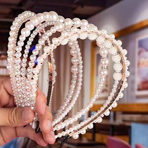 Sharp Bande de Cheveux Perle,  6 pices serre-ttes en perles synthétiques Blanc, Accessoires de cheveux de mariage de cerceau de cheveux de mariée ornements pour femmes filles (A) - Publicité