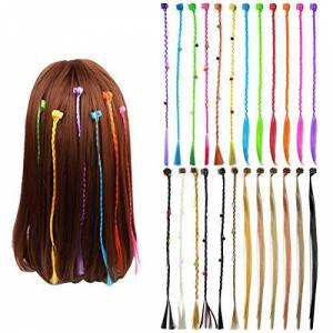 WEONE 24pcs Extensions de Cheveux Néon pour les Filles, Tresse Cheveux avec Mini Pinces  Cheveux pour Cosplay Performance Scolaire Soirée Dansante - Publicité