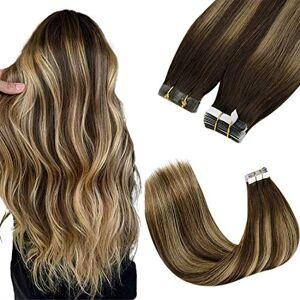 LaaVoo 22 Pouces Tape Extensions de Cheveux Humains Couleur Balayage Marron Foncé Se Fanant  Caramel Blonde Highlighted Real Remy/Remi Skin Weft 40pcs 100g/paquet(#4/27/4) - Publicité