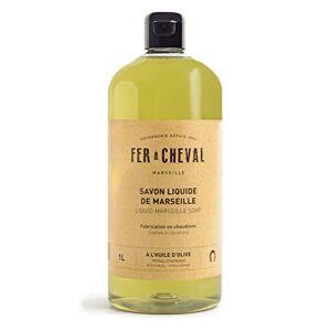 Fer  Cheval Véritable Savon de Marseille Liquide  l'huile d'olive Sans Conservateur, ce Savon Liquide Surgras et Hypoallergénique et Préserve léquilibre de la Peau 1 Litre - Publicité