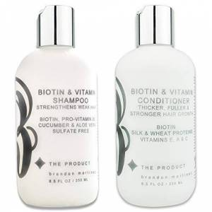 B THE PRODUCT Ensemble de shampooing et revitalisant hydratant pour la croissance des cheveux  la biotine et aux vitamines (haute puissance) Aloe Vera, concombre, ajoute du volume aux cheveux fins (8.5oz.) - Publicité