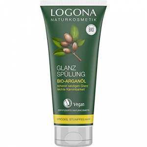 LOGONA Naturkosmetik Logona natural cosmetic shine conditioner, organic argan oil, protects brittle, dull hair and gives silky shine, valuable oils, vegan, 200 ml - Publicité
