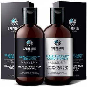 Sphagnum Botanicals Ensemble de shampooing et revitalisant contre le psoriasis Thérapie complte  la boue de tourbe pour le cuir chevelu qui démange.Traitement naturel de tourbe, d'argan et d'huile d'olive - Publicité