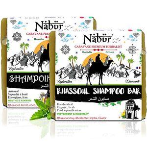 Nabr Galet Shampoing Solide Bio (2x100 gr) Cheveux Gras   Rhassoul Argile rouge, Huile de Ricin/Jojoba, Beurre de karité   H.E Menthe & Romarin - Publicité