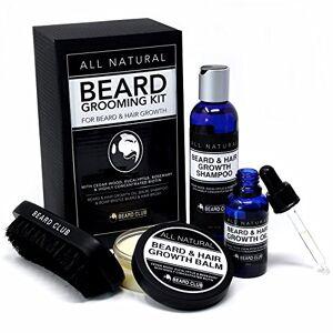 Beard Club Kit de Toilettage Naturel Pour la Barbe   Pour la Croissance de la Barbe et des Cheveux  Huile, Baume, Shampoing & Brosse pour Barbe   Biotine, de Bois de Cdre, d'Eucalyptus et de Romarin - Publicité
