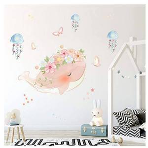 Trendyshop365 Mignon Rose Baleine Couronne Méduse Sticker Mural Enfants Chambres Chambre Salon Décorations Mural Pour La Maison Autocollants Papier Peint - Publicité